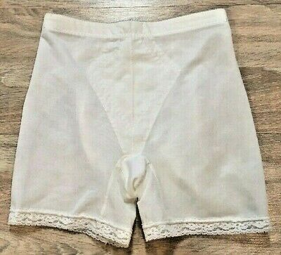 Burlesque Panty Girdle Underscore by JCPenney Size Large White Satin 60s Vintage
