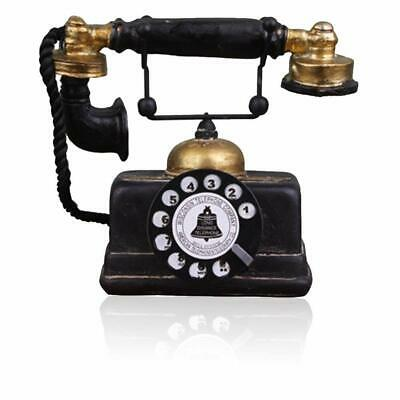 Retro Phone Black Gold Prop Rotary Dial Vintage Telephone Collectors Office Gift