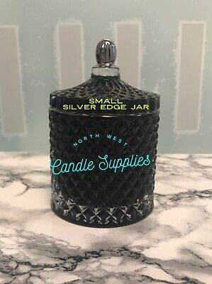 New Glass Geo Jar Small Black with Silver Trim For Candle Making- Single 220g