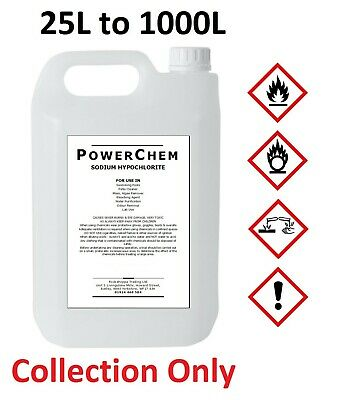 Sodium Hypochlorite 14-15% Patio Cleaner / Swimming Pool Chlorine - 25L to 1000L