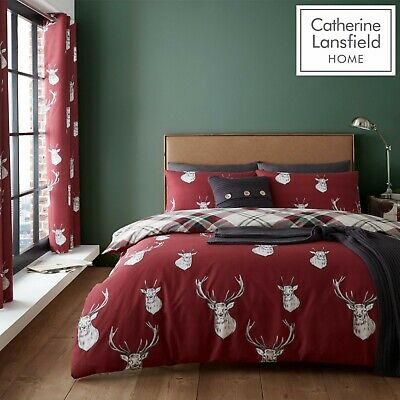 Catherine Lansfield Munro Stag Check Reversible Duvet Cover Bedding Set Red