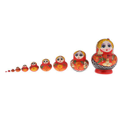 10pcs Red Female Russian Nesting Doll Matryoshka Wood Set for Children Kids