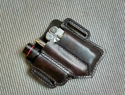 EDC leather belt pouch 2. Pouch for Leatherman multitool, Flashlight. Sheath.