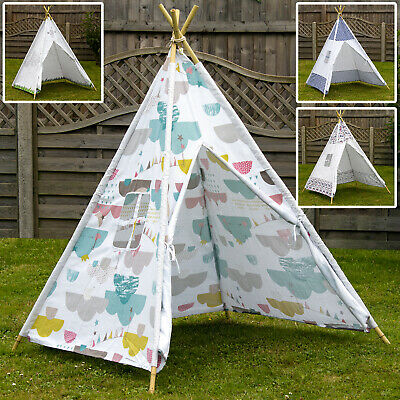 Kids Play Tent Teepee Indian Wigwam Natural Bamboo Poles Outdoor Canvas Fabric