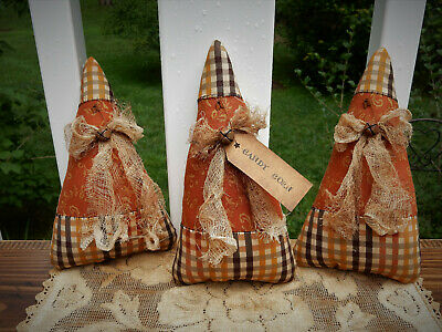 FoLk Art PrimiTive FALL HaLLoWeen CounTry RusTic GruNgy CANDY CORN DecoraTion