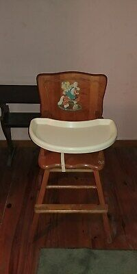 1950 antique high chair wooden with decor on back
