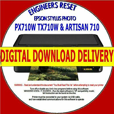 Epson Px710W Tx710 Artisan 710 Waste Ink Counter Reset Fast Digital Download New