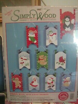 1995  Simply Wood Holiday Sled Ornaments Gail Fessenden #01006