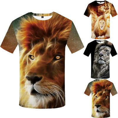 Men 3D Lion Print Short Sleeve Funny T-Shirt Casual Tops Fashion Summer Tees New