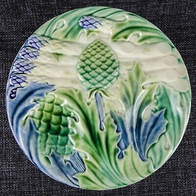 Luneville? French Rare Majolica - Set Of 5 X Asparagus Plates - 19Th Century - 2