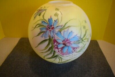 """Antique GWTW Banquet Globe Oil Lamp Shade Victorian Hand Painted Floral - 9 1/2"""""""