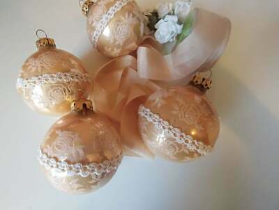 Vintage Victoria Collection Rose Gold Christmas Ornaments Lace Set Of 4