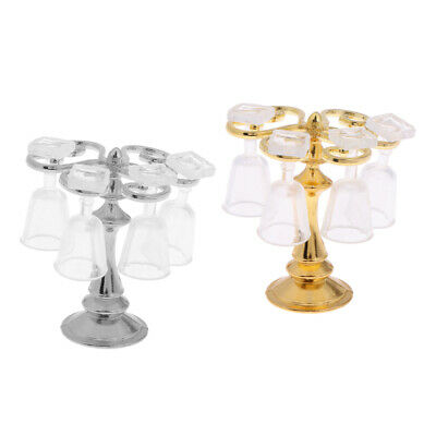 2Pcs 1:12 Dolls House Miniature Wine Rack Cups Glass Sets Kitchen Decor