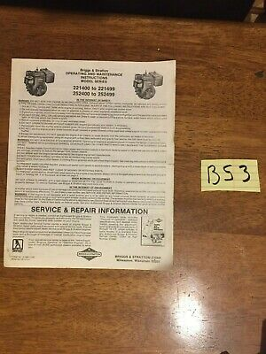 Briggs & Stratton Engine Operating & Maintenance Instructions 221400 - 221499