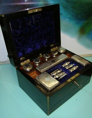 Vintage coromandel travelling sterling & plated silver jewelry vanity box case