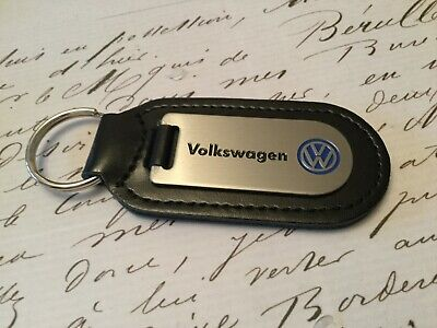 VW Volkswagen Key Ring Etched and infilled On Leather