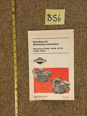 Briggs & Stratton Engine Operating & Maintenance Instructions 170700 190700