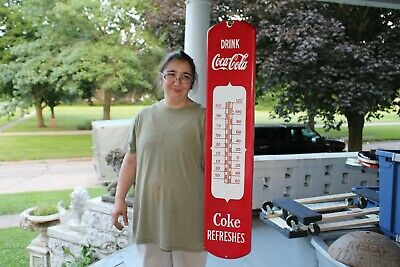 """Large Coca Cola Soda Pop Gas Station 39"""" Porcelain Metal Thermometer Sign"""