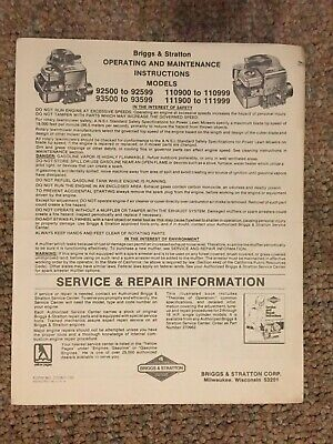 Briggs & Stratton Engine Operating & Maintenance Instructions 92500 - 92599