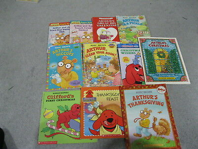 14 Clifford The Big Red Dog & Arthur Sc Chapter & Storybook Lot - 4 Pics Shown!