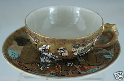 Antique Japanese Cup Saucer Set Satsuma Moriage Holy Man & Dragon Gold Porcelain