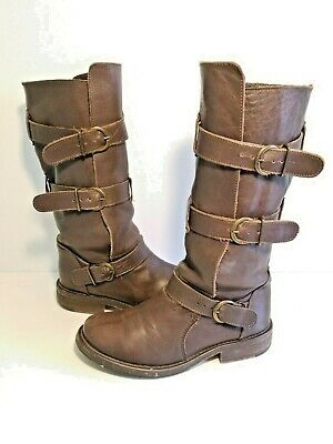881c6481ebe STEVE MADDEN BUCK Brown Distressed Moto Biker Riding Boots Triple ...