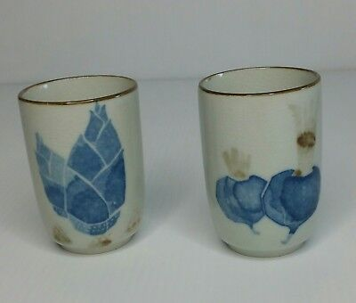 Vintage Pair Of Cup For White Ceramic Tea With Blue