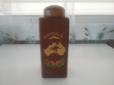 AUSTRALIA  50s VINTAGE DARK TIMBER SALT  SHAKER ...FEATURES  NATIVE  ICONS ..VGC