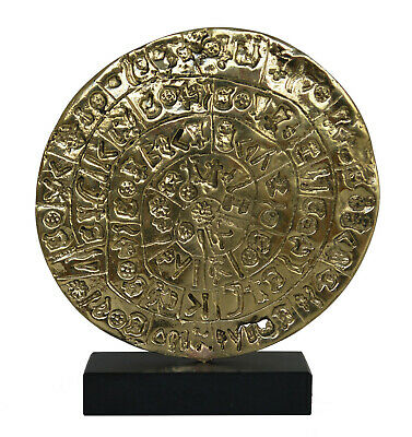 Phaistos disc Bronze sculpture museum reproduction - Palace of Knossos - Minoans