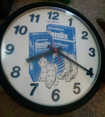 Vintage Rare Allied Signal Bendix Brakes Automotive Advertising Shop Clock WORKS