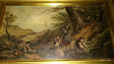 Nice Antique oil board painting people foraging woods landscape mystery artist