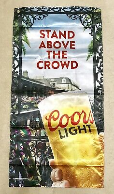 "Coors Light Mardi-Gras Banner Flag Beer Sign 47x24"" - Brand New In Bag!"