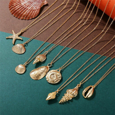 Ocean Starfish Alloy Cowrie Conch Shell Pendant Necklace Summer Beach Jewelry