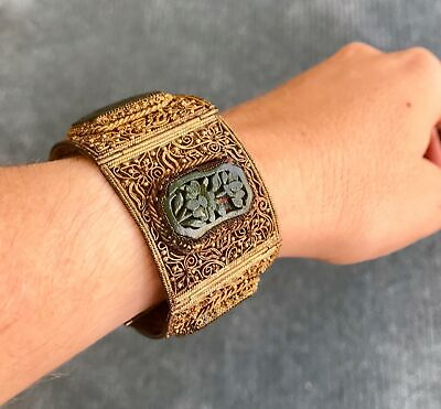 Antique Qing Dynasty Chinese Gilt Silver & Lacquer Bracelet / Late 19th Century