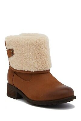 f1866c5e08d UGG AUSTRALIA ALDON WATER-RESISTANT Chestnut LEATHER WOOL CUFF BOOTS ...