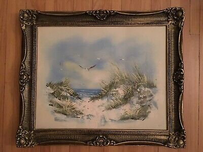 LARGE mid 20th Century SEASCAPE OCEAN Antique Oil Painting 24 X 20 Signed