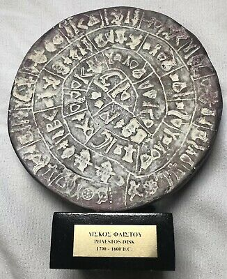 Phaistos Disk of Minoan Crete real size museum reproduction 2nd millennium BC