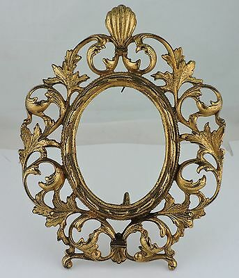 Antique Picture Frame French ? Ormolu Brass Shell/Leaf Ornate Victorian Style