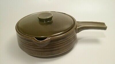 Frying Pan Skillet Lid Pottery Cooking  Signed Avocado Green  Vintage Nasco