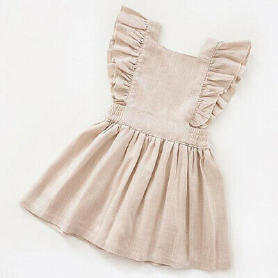 AU Toddler Baby Girl Clothes Ruffle Sleeve Dress Skirt Sundress Summer Outfit
