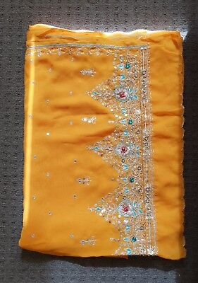 UNBRANDED - Embellished Sari in Orange
