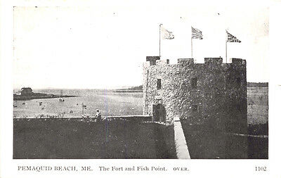 Pemaquid Beach Maine Fort & Fish Point-Flags Of Us-France-Uk Phototype Postcard