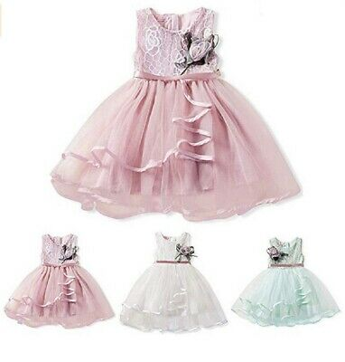 AU Toddler Baby Girl Clothes Sleeveless Lace Tutu Dress Flower Princess Dresses