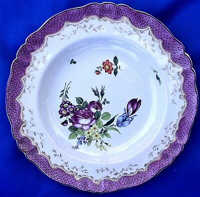 ANTIQUE HOCHST FAIENCE GERMAN PLATE ' Deutsche Blumen ' -  1740-1760 .