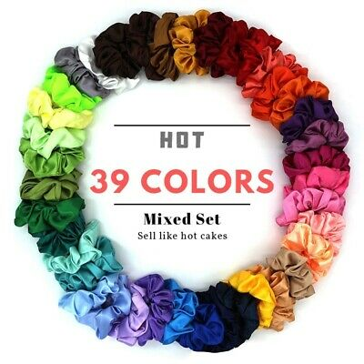 39 Colors Cloth Hair Ring Silk Solid Scrunchies (Random Color)