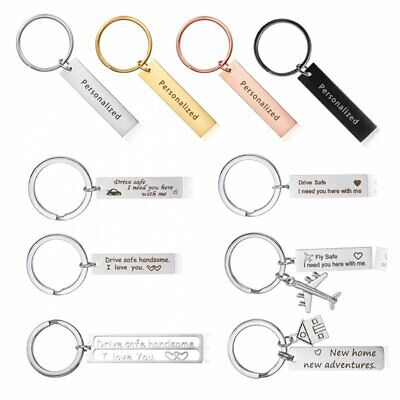 Stainless Steel Drive Safe Keyring Personalized Custom Letter Keychain Key Chain