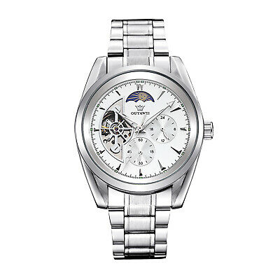 Mens Tourbillon Moon Phase Stainless Steel White Dial Automatic Mechanical Watch