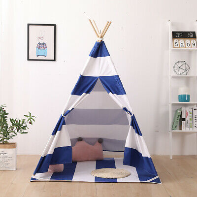 Kids Teepee Tent Cotton Canvas Childrens Wigwam Indoor Outdoor Large Play House