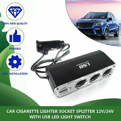 3 Way12V Multi Socket Car Cigarette Lighter Splitter USB DC Charger Adapter MT
