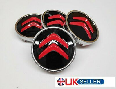 ⭐️⭐️4 X CITROEN 60mm ALLOY WHEELS CENTRE HUB CAPS RED METALLIC GLOSS  Fit MOST⭐️